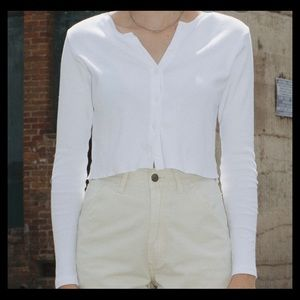 brandy melville white cropped button up